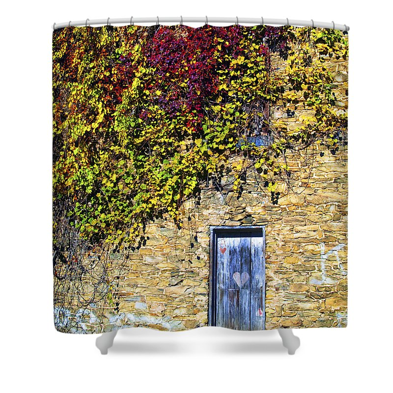 Mill Shower Curtain featuring the photograph Old Mill Door by Paul W Faust - Impressions of Light