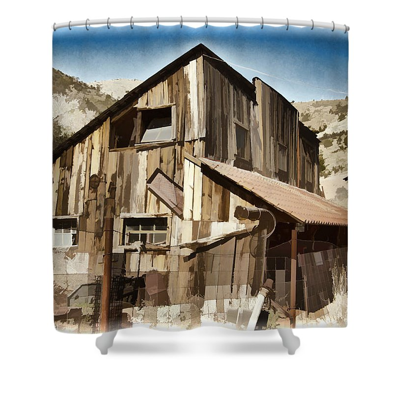 Mine Shower Curtain featuring the photograph Old Mine Shack by Jon Berghoff