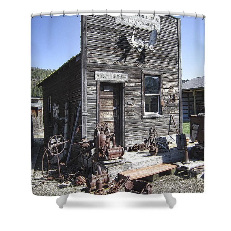 Gold Shower Curtain featuring the photograph Old Molson Ghost Town Assay Office by Daniel Hagerman
