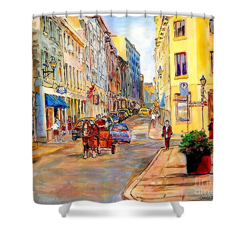 Quebec Shower Curtain featuring the painting Old Montreal Paintings Youville Square Rue De Commune Vieux Port Montreal Street Scene by Carole Spandau