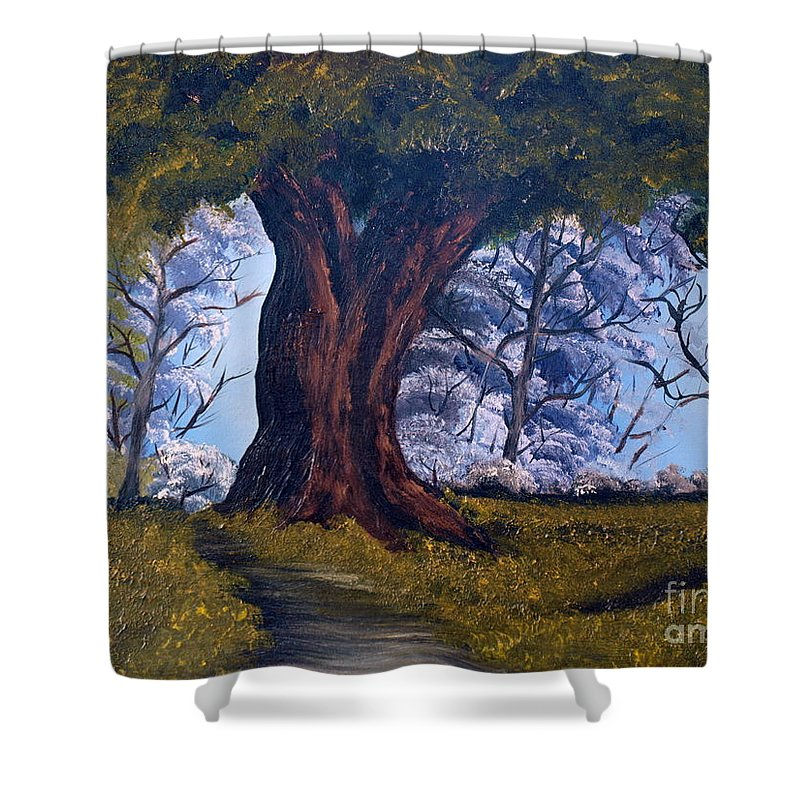 Oak Shower Curtain featuring the painting Old Oak Tree by Corina Hogan
