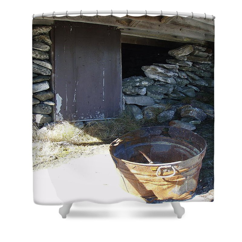 Mountain Shower Curtain featuring the photograph Old Pail by Robert Nickologianis