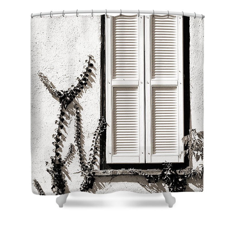 White Shower Curtain featuring the photograph Old Painted Shutter 2 by Marilyn Hunt