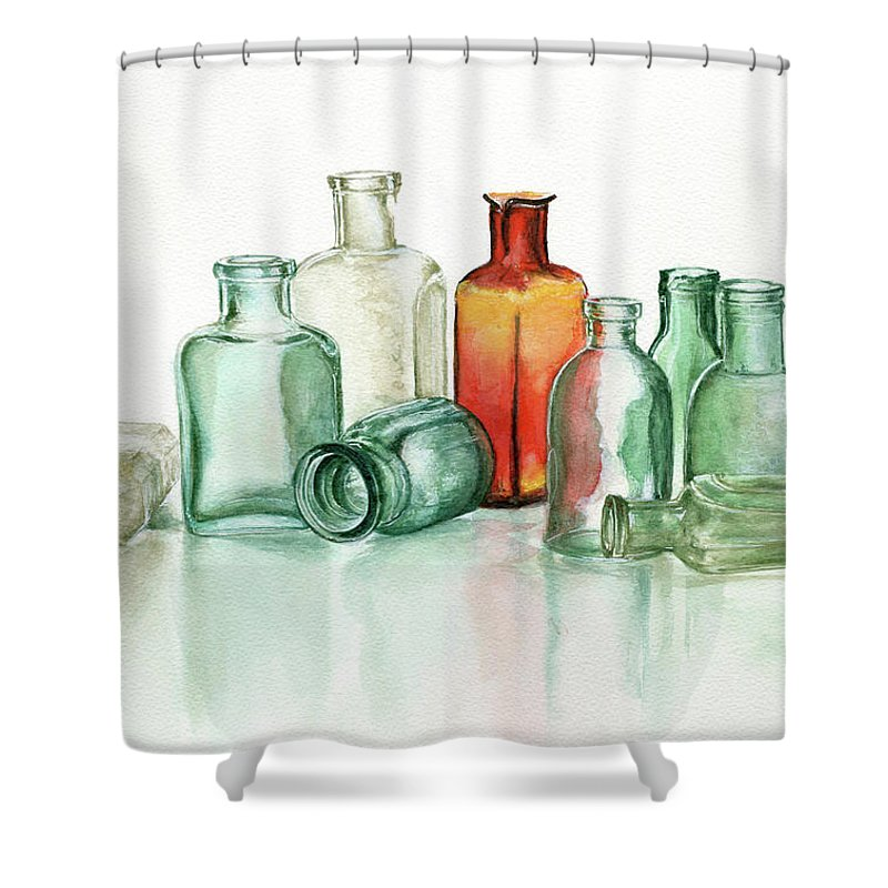 Material Shower Curtain featuring the photograph Old Pharmacys Glassware by Sergey Ryumin