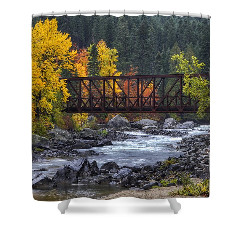 Tumwater Pipeline Trail Shower Curtain featuring the photograph Old Pipeline Bridge by Mark Kiver