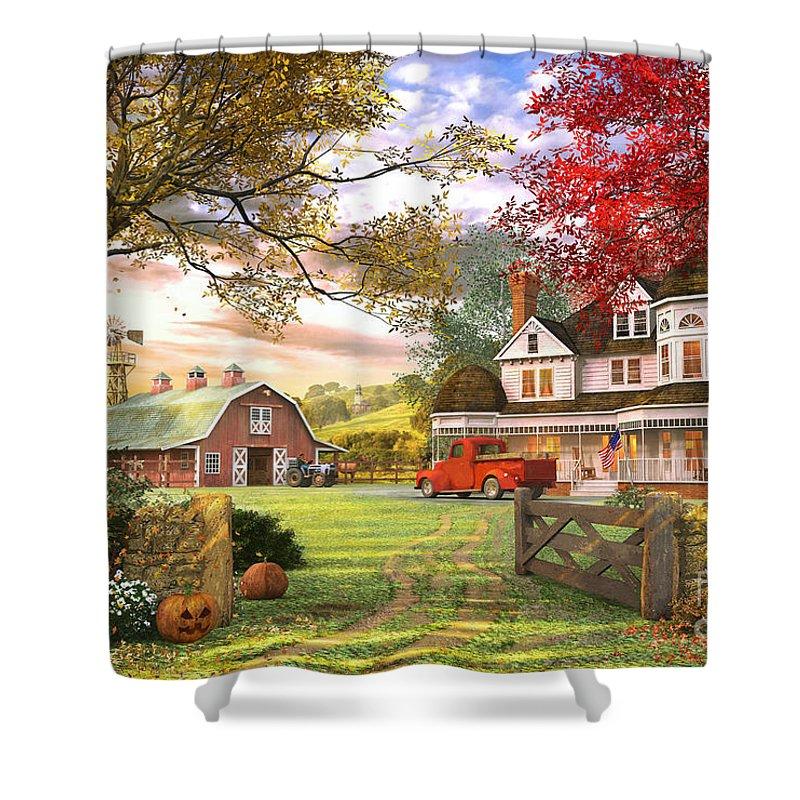 Pumpkin Shower Curtain featuring the digital art Old Pumpkin Farm by MGL Meiklejohn Graphics Licensing