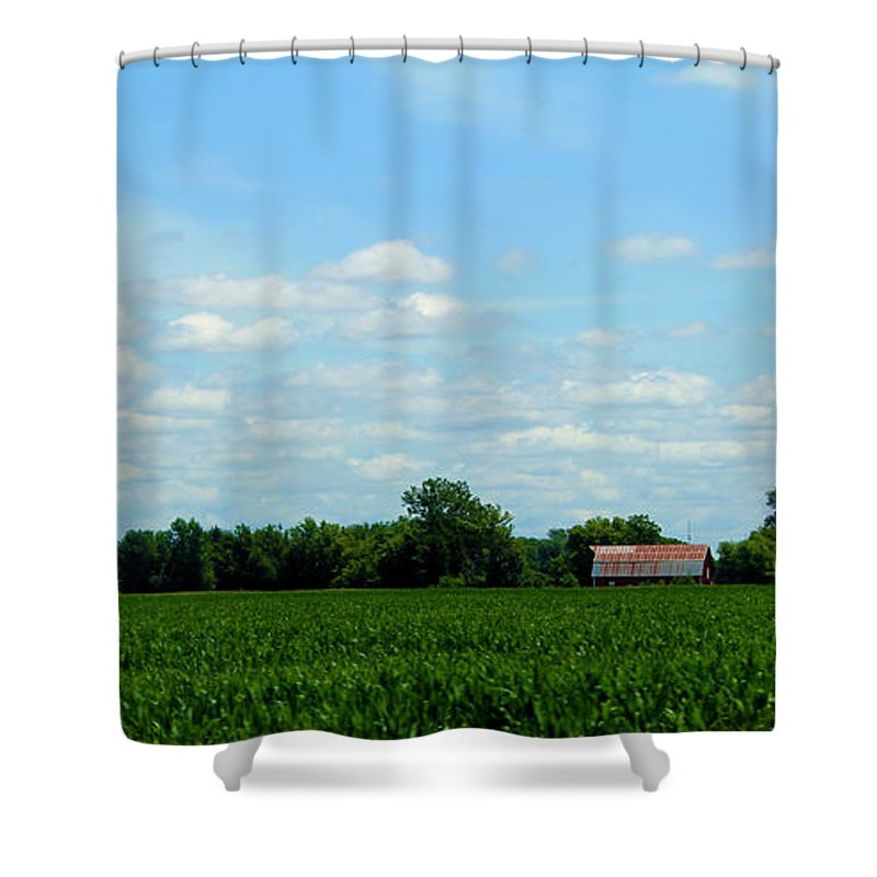 Kansas Shower Curtain featuring the photograph Old Red Barn And Fields by Jeanette C Landstrom