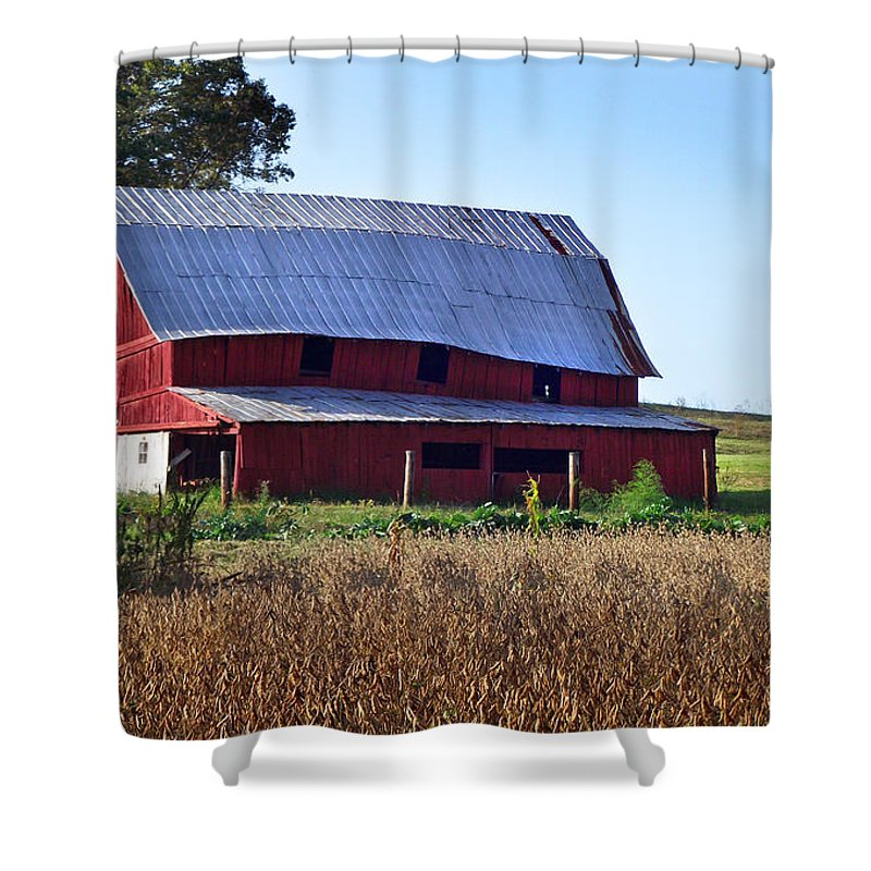 Duane Mccullough Shower Curtain featuring the photograph Old Red Barn Near Etowah Nc by Duane McCullough