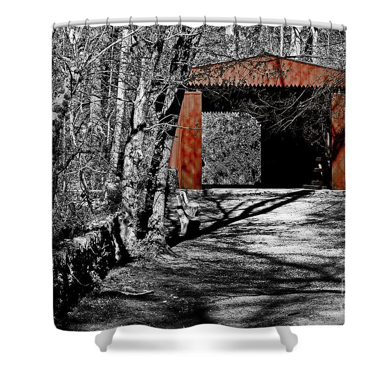 Selective Color Shower Curtain featuring the photograph Old Red Bridge by Tom Gari Gallery-Three-Photography