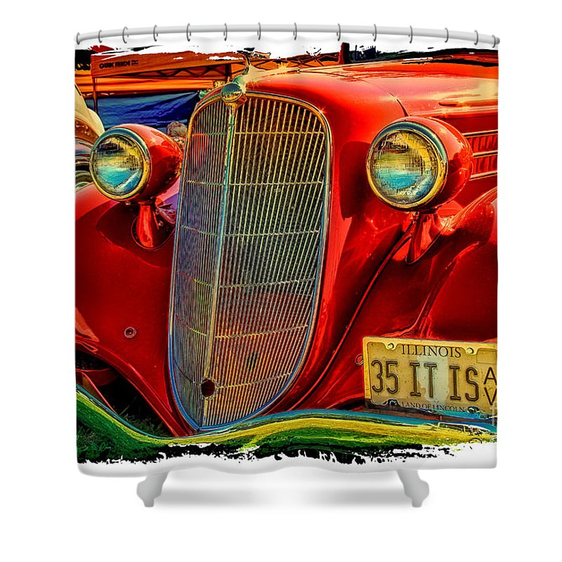 Old Red Car Shower Curtain featuring the photograph Old Red by Warrena J Barnerd