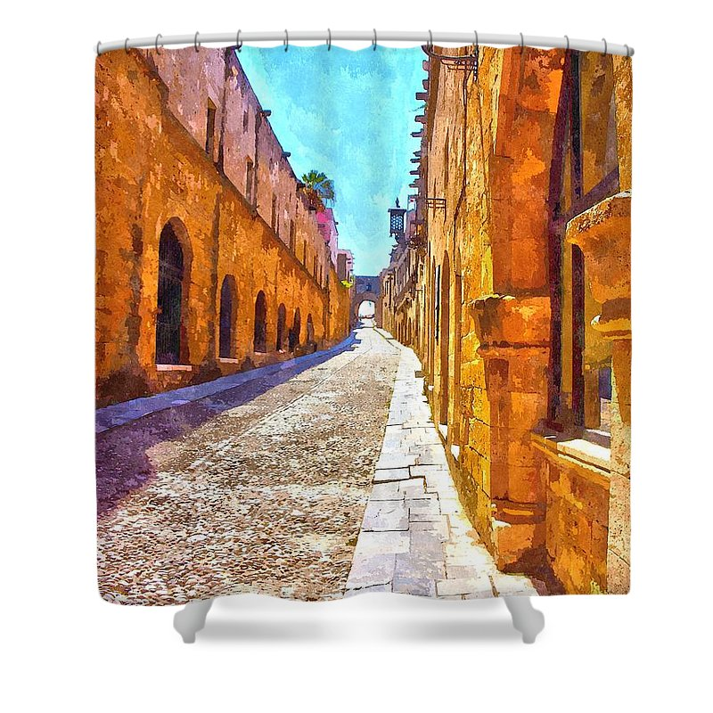 Old Rhodes Town Shower Curtain featuring the photograph The Old Rhodes Town by Scott Carruthers