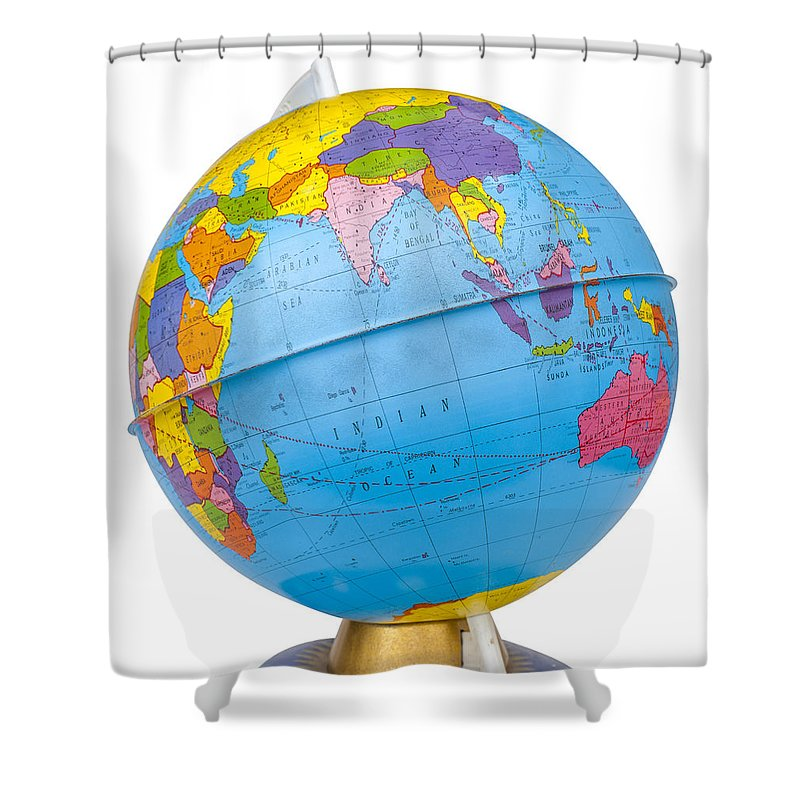Old rotating world map globe shower curtain for sale by donald erickson globe shower curtain featuring the photograph old rotating world map globe by donald erickson gumiabroncs Image collections