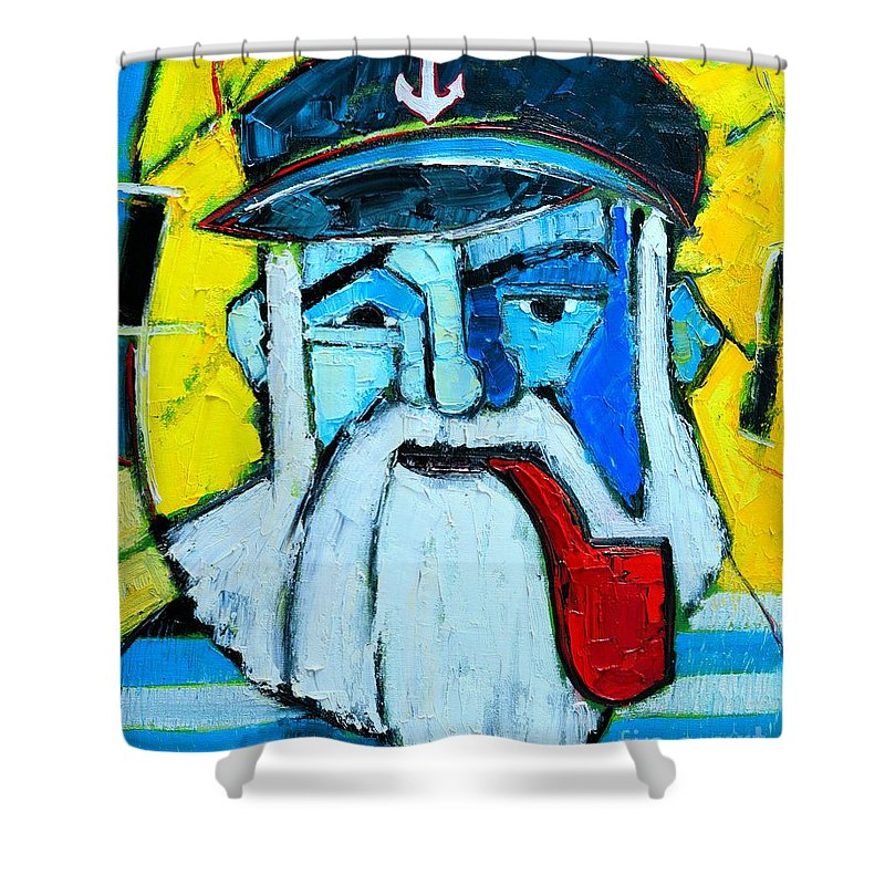 Sailor Shower Curtain featuring the painting Old Sailor With Pipe Expressionist Portrait by Ana Maria Edulescu