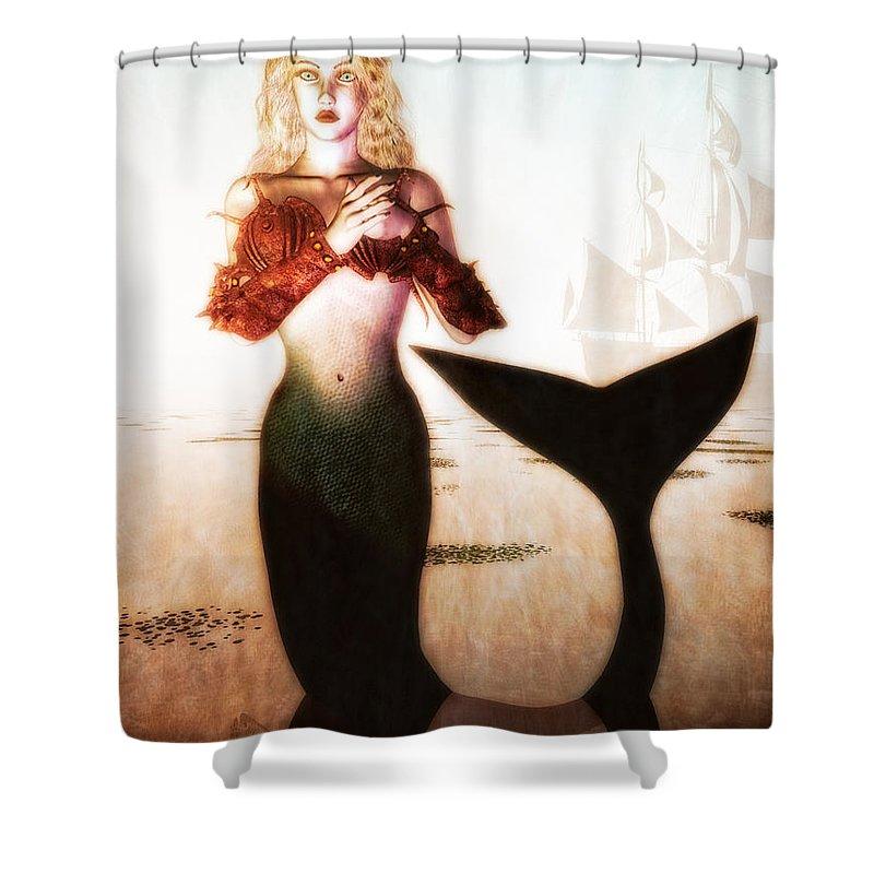 Mermaids Shower Curtain featuring the digital art Old Sailors Dream - The Mermaid by Bob Orsillo