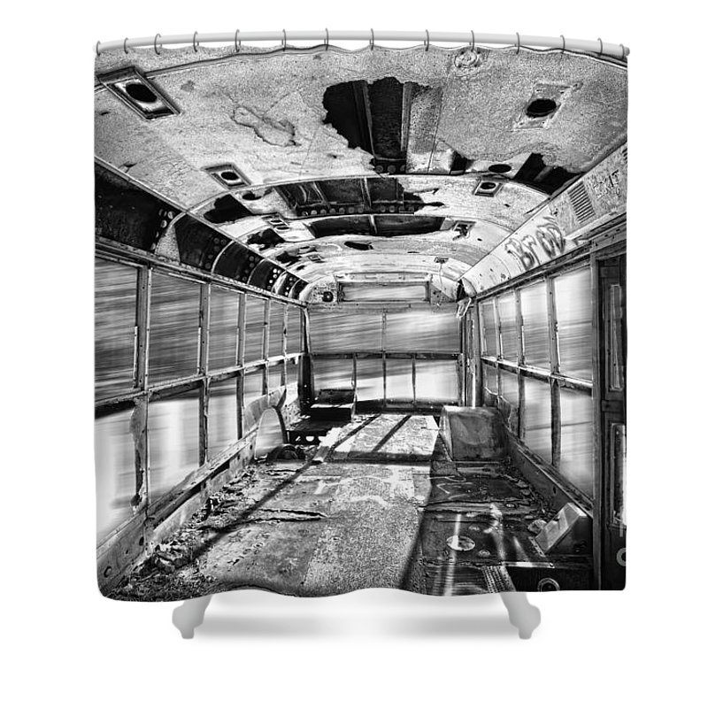 'school Bus' Shower Curtain featuring the photograph Old School Bus In Motion Bw Hdr by James BO Insogna