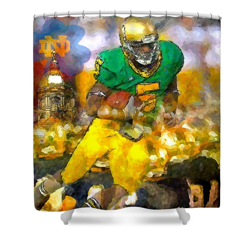 Irish Shower Curtain featuring the painting Old School Green Irish by John Farr