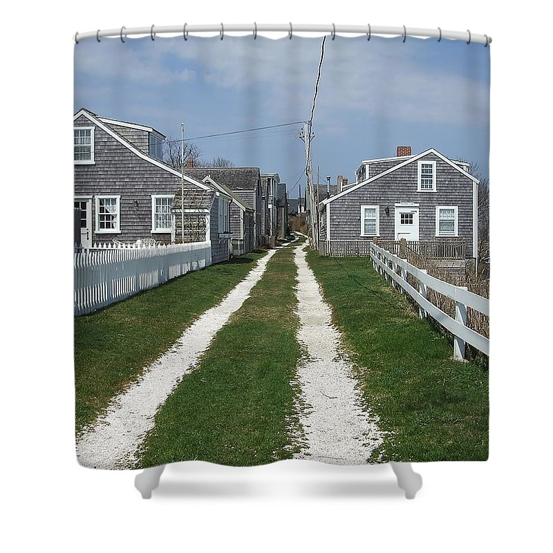 'sconset Shower Curtain featuring the photograph Old 'sconset Nantucket Houses by Susan Wyman