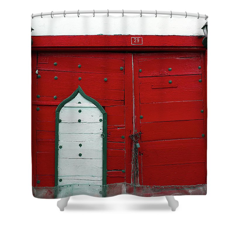 Hinge Shower Curtain featuring the photograph Old Style Red Colored Door by Okeyphotos