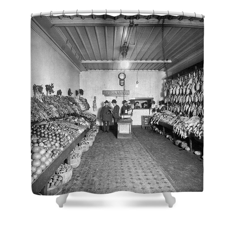 1035-1098 Shower Curtain featuring the photograph Old Time Grocery Store by Underwood Archives
