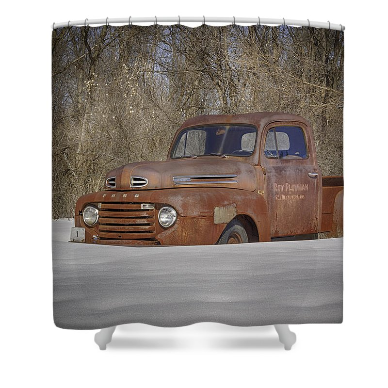 Ford Truck Shower Curtain featuring the photograph Old Timer In Color by Thomas Young
