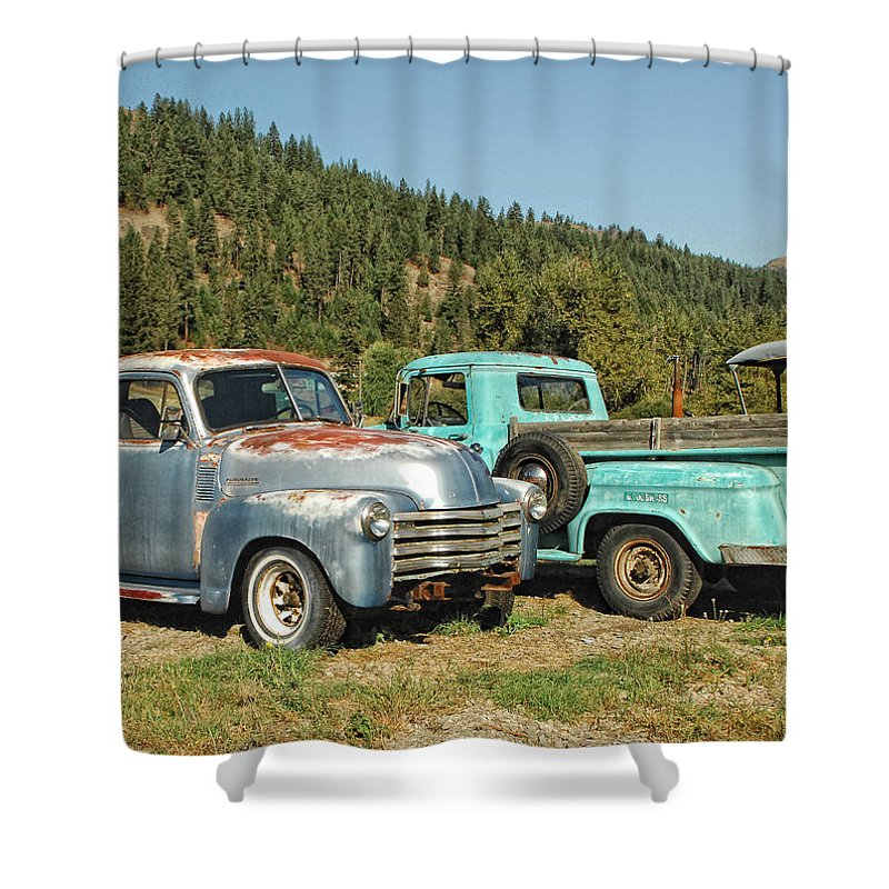 Trucks Shower Curtain featuring the photograph Old Timers by Donna Blackhall