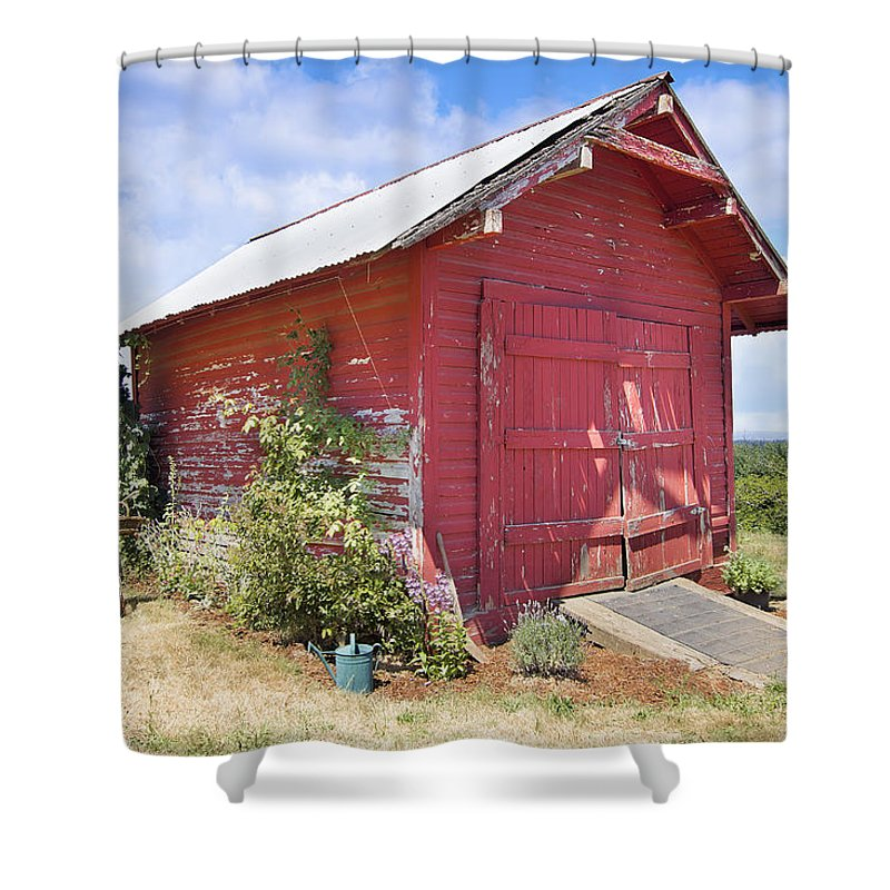Red Shower Curtain featuring the photograph Old Tool Shed Red Barn by Jit Lim