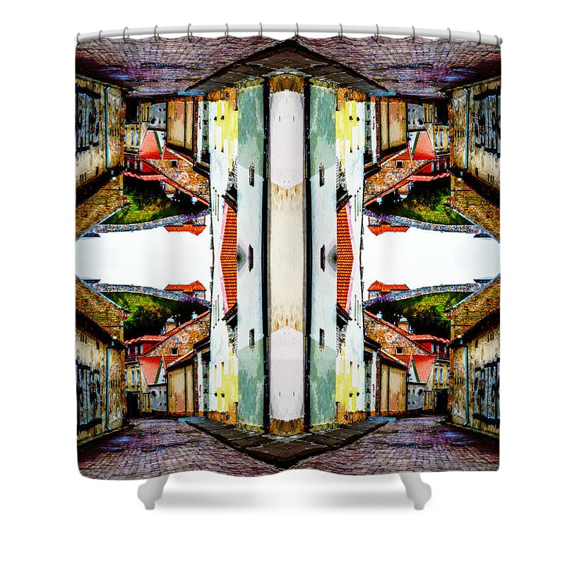 Cozy Street Shower Curtain featuring the photograph Old Town Stories Art 1 by Yevgeni Kacnelson