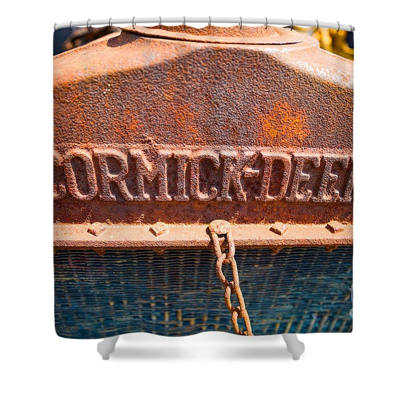 Old Shower Curtain featuring the photograph Old Tractor Grille by Les Palenik