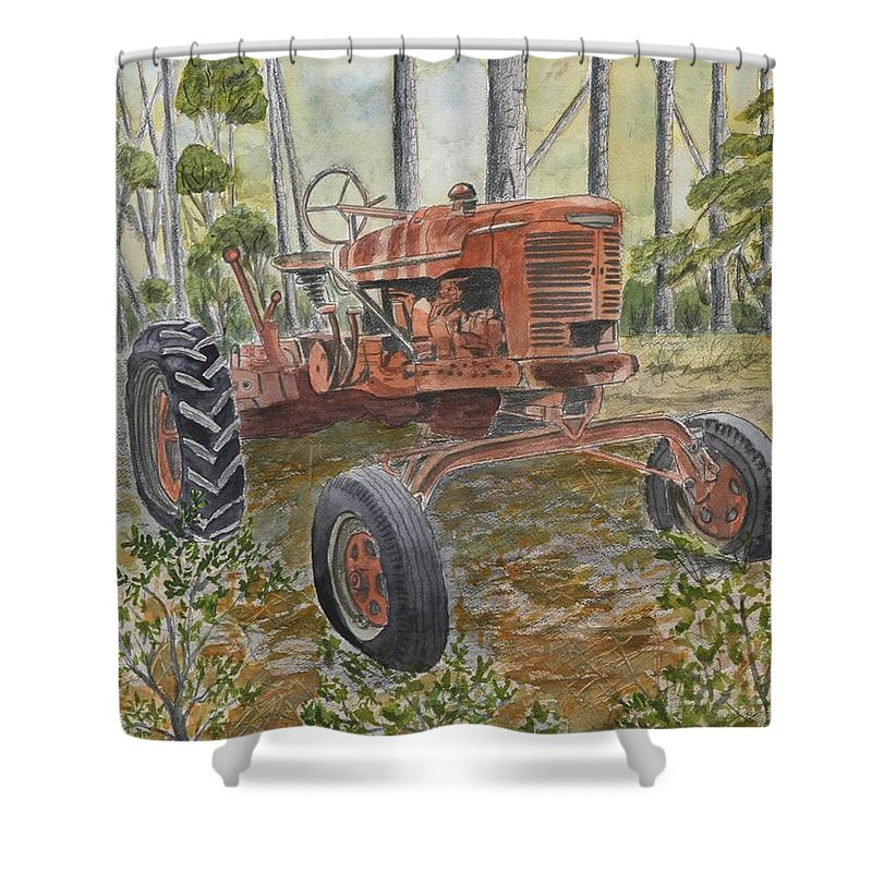 Old Shower Curtain featuring the painting Old Tractor Vintage Art by Derek Mccrea