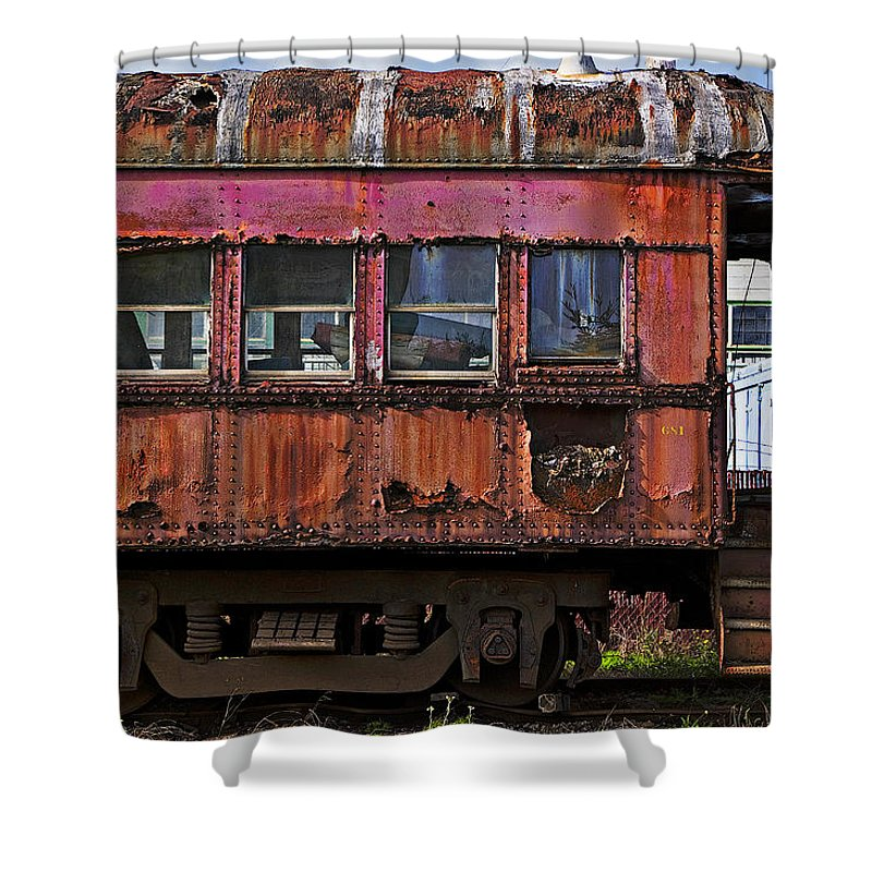 Railroad Shower Curtain featuring the photograph Old Train Car by Garry Gay