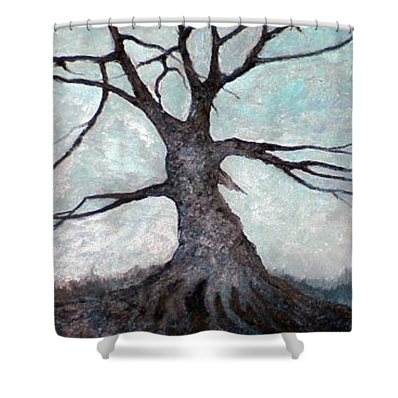 Landscape Shower Curtain featuring the painting Old Tree by Sergey Bezhinets
