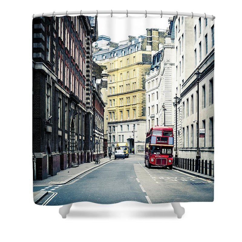 Downtown District Shower Curtain featuring the photograph Old Vintage Red Double Decker Bus In by Zodebala