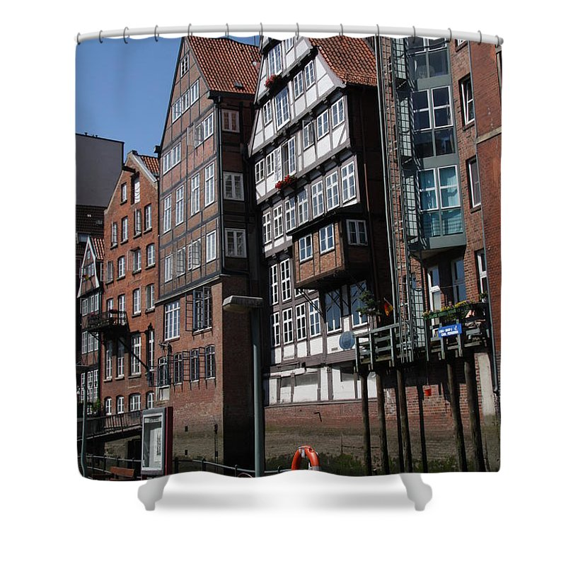 Hamburg Shower Curtain featuring the photograph Old Warehouses Port Of Hamburg by Christiane Schulze Art And Photography