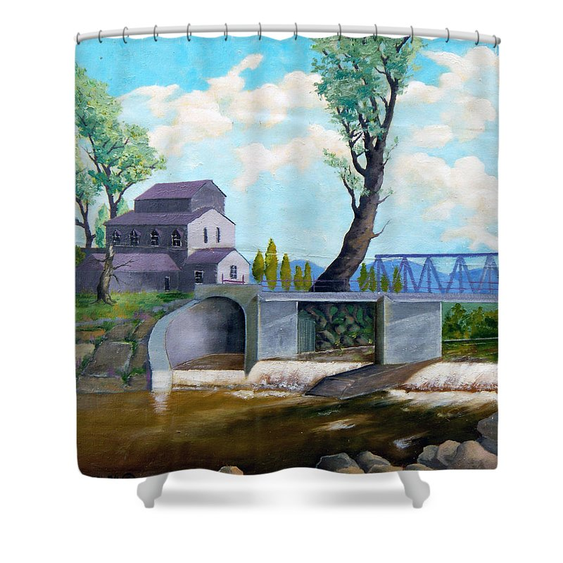 Old Shower Curtain featuring the painting Old Water Mill by Sergey Bezhinets