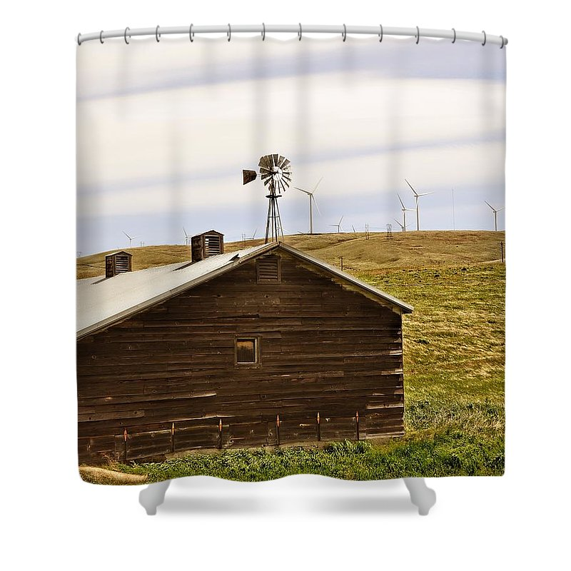 Windmills Shower Curtain featuring the photograph Old Windmill Vs New Windmills by Image Takers Photography LLC