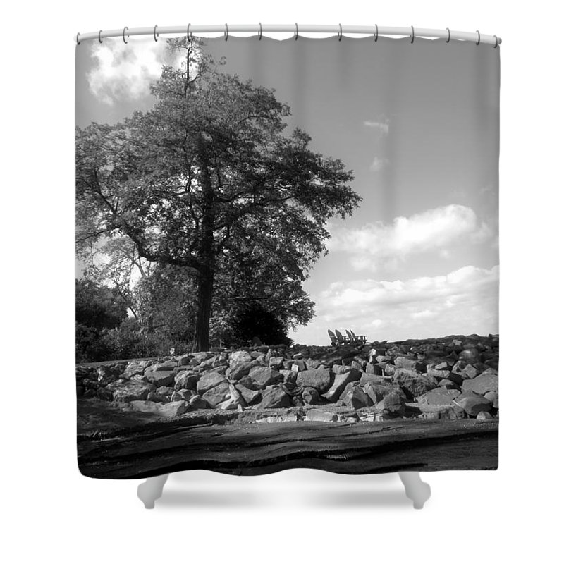 Old Woman Creek Shower Curtain featuring the photograph Old Woman Creek - Black And White by Shawna Rowe