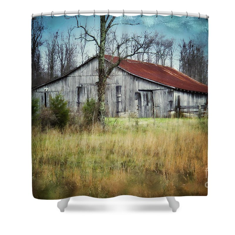 Barn Shower Curtain featuring the photograph Old Wooden Barn by Betty LaRue