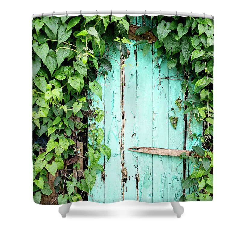 Outdoors Shower Curtain featuring the photograph Old Wooden Door by Real444