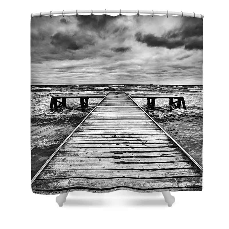 Jetty Shower Curtain featuring the photograph Old Wooden Jetty During Storm On The Sea by Michal Bednarek