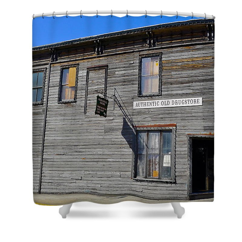 Authentic Old Drug Store Shower Curtain featuring the photograph Oldest Drug Store by Denise Mazzocco