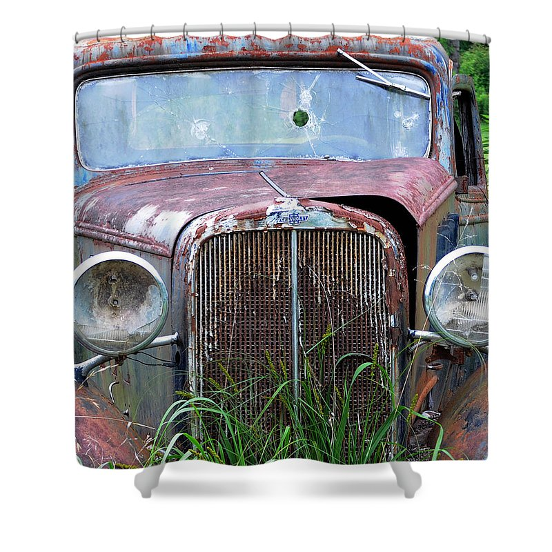 Antique Car Shower Curtain featuring the photograph Ole Chevy by Leon Hollins III