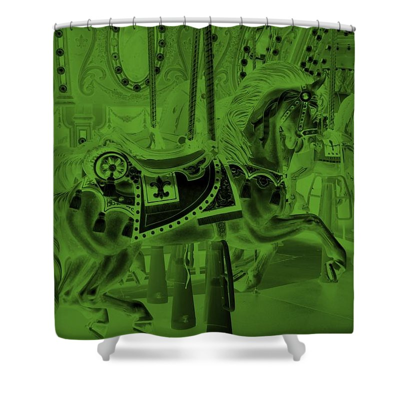 Carousel Shower Curtain featuring the photograph Olive Green Horse by Rob Hans