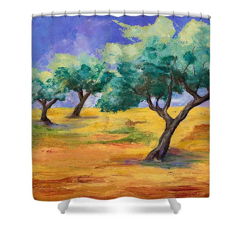 Olive Tree Grove Shower Curtain featuring the painting Olive Trees Grove by Elise Palmigiani