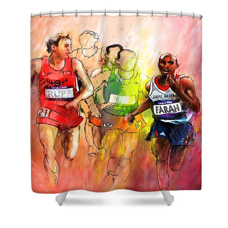 Sports Shower Curtain featuring the painting Olympics 10000m Run 01 by Miki De Goodaboom