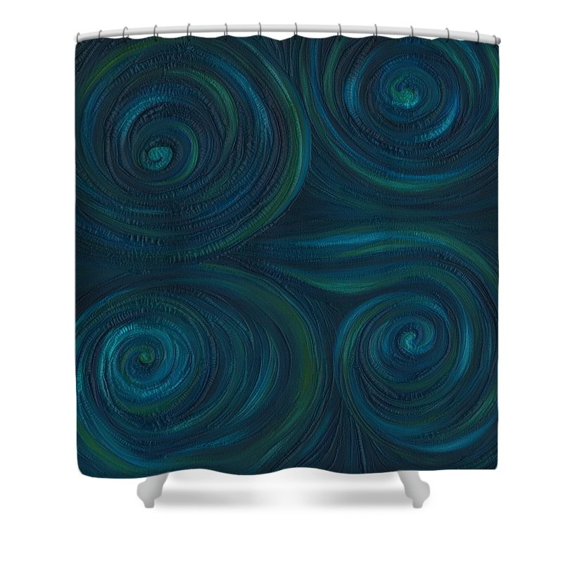 Abstract Shower Curtain featuring the painting Om by Laura Teti