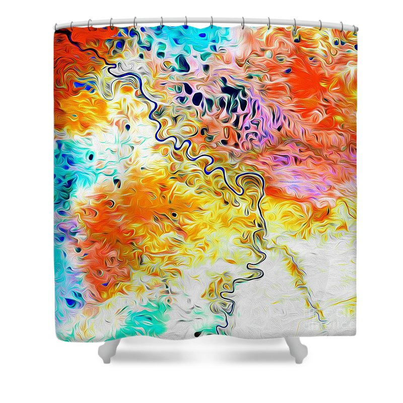 Omoloy River Shower Curtain featuring the digital art Omoloy River Tributaries by Phill Petrovic