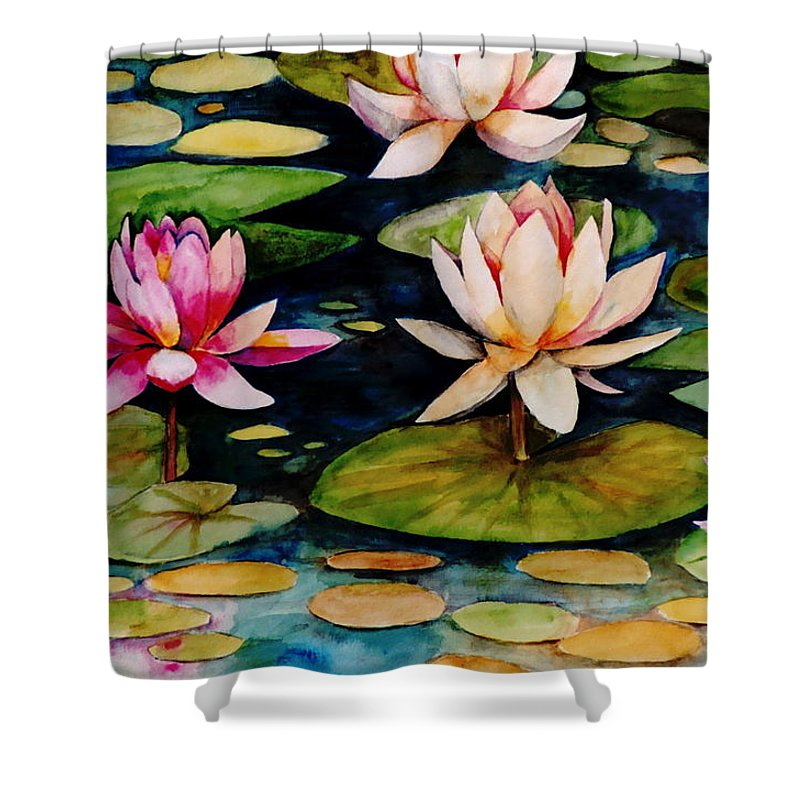 Lily Shower Curtain featuring the painting On Lily Pond by Jun Jamosmos