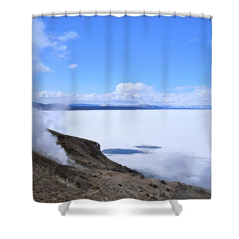 Yellowstone National Park Shower Curtain featuring the photograph On The Edge Of Lake Yellowstone by Michele Myers
