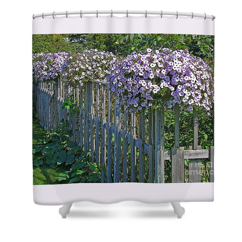 Petunia Shower Curtain featuring the photograph On The Fence by Ann Horn