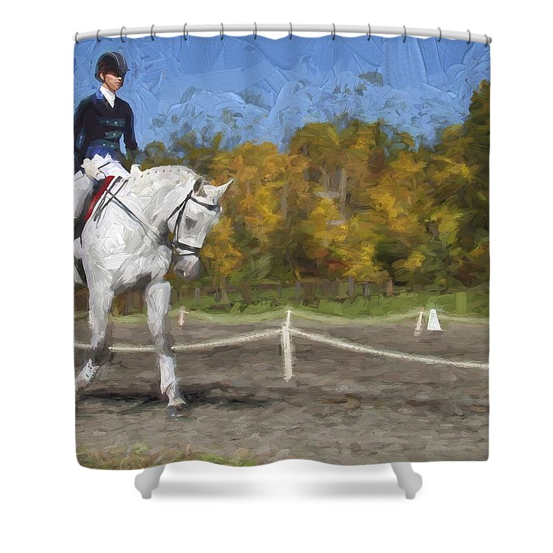 Horse Shower Curtain featuring the photograph On The Left by Alice Gipson